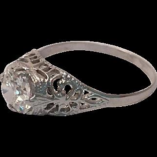 Stunning Art Deco antique cushion diamond ring