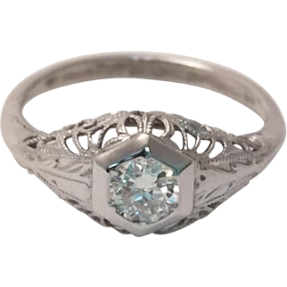 Old European Diamond Sweetheart Ring