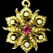 Sunburst Seed Pearl Pendant/Pin