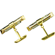 Natural Gold Quartz Vintage Cuff Links
