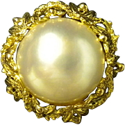 Bold & Beautiful Mabe Pearl Ring set in 18K Yellow Gold
