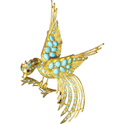 18K Gold and Turquoise Bird Brooch