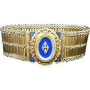 Hidden Bracelet Watch: 14k Gold with Blue Enameling