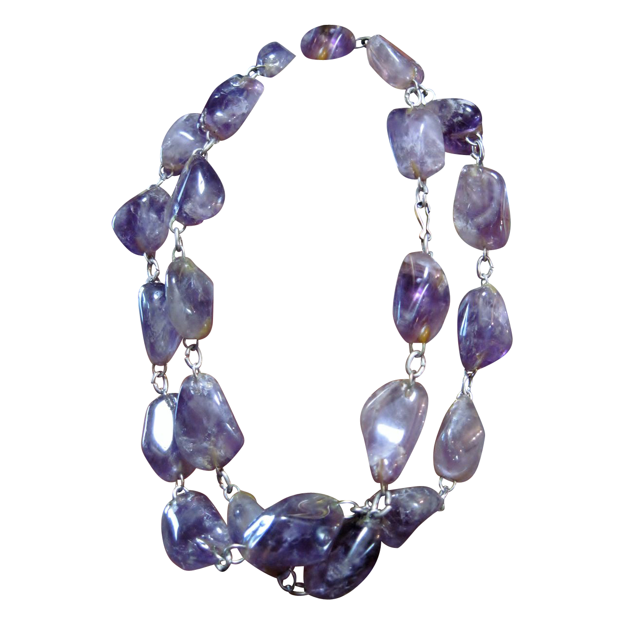 SALE: Chunky Strand of Natural Raw, Polished Amethyst Necklace