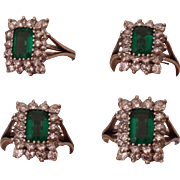 Exquisite, 14 Carat White Gold, Green Emerald Cut Tourmaline & Double Row of Diamonds, Ring