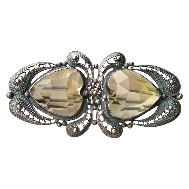 Antique Silver Cannetille, Pale Yellow Topaz, Double Heart Brooch Pin
