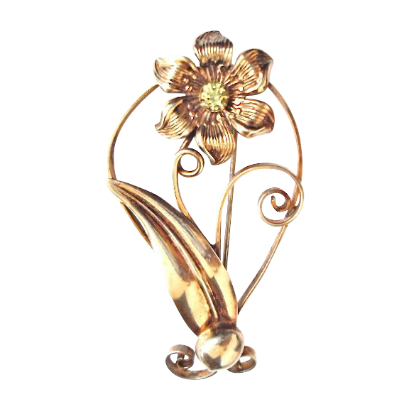 Large and Lovely, Sterling Silver Flower Pin with Peridot