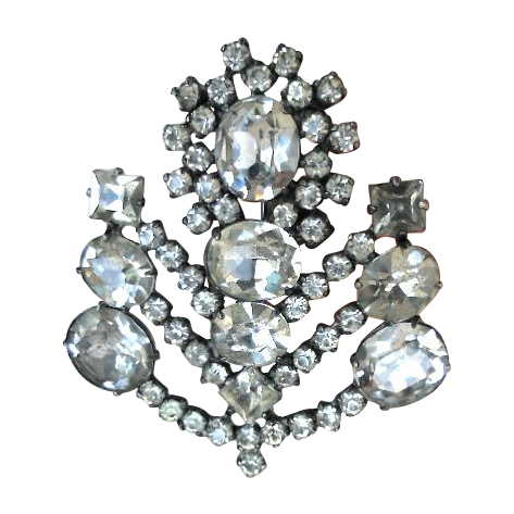 Art Deco, Large Rhinestone Paste, Sterling Silver Brooch/Pin