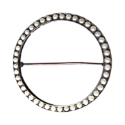 Early 1900's, Sterling Seed Pearl Circle Brooch/Pin