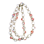 Vintage Porcelain Painted, China Beads Necklace