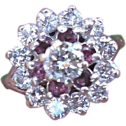 "18K White Gold, Ballerina, Triple Row, 1.56 Carats of Diamond & Ruby ""Flower"" Ring"