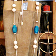Reduced! NANNI: Lovely and Quite Substantial, Turquoise and Marble Necklace