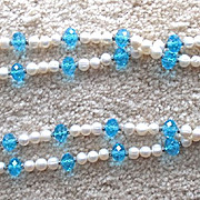 Reduced! NANNI: Beautiful, Classy, Fresh Water Pearl & Aquamarine Blue Colored Crystal Necklace