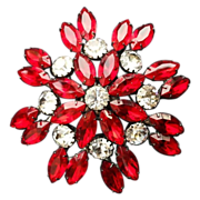 JULIENNE: lovely Eye Popping, Runway Model, Ruby Red Brooch with Clear Stones