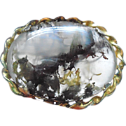 "Lovely ""World within a World"" Dreamy Moss Agate Brooch/Pin"