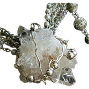 Sterling Silver Wrapped Quartz on Vintage Styled Necklace with Earrings