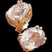 Beautiful 14KYG Oval Shaped, Multi-Faceted, Kunzite Earrings