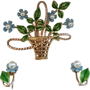 "Beautiful ""KREMENTZ"" Flower Basket with Earrings Parure"