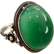 "Lovely Green ""Arts n Crafts"" Chrysoprase Ring"