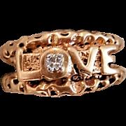 "Cool 10KYG, Diamond ""LOVE"" Ring"