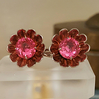 Pretty Pink, Sterling Rhinestone Flower Earrings