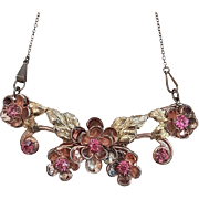 Lovely Sterling Silver Rhinestone Necklace of