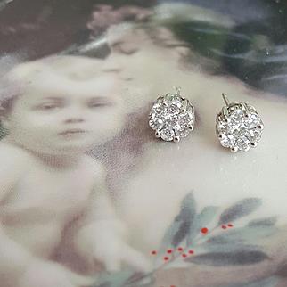 14KWG, One Carat Diamond Earrings