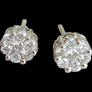 14KWG, One Carat Diamond, SCREWBACK, Earrings