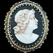 Lovely Grecian Lady Cameo Brooch Pendant
