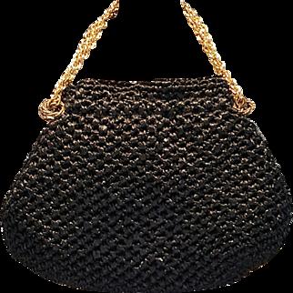 Raffia & Leather Beauty by M M, Crochet Straw Bag