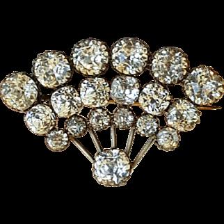 Antique Georgian Paste Fan Design Brooch Pin