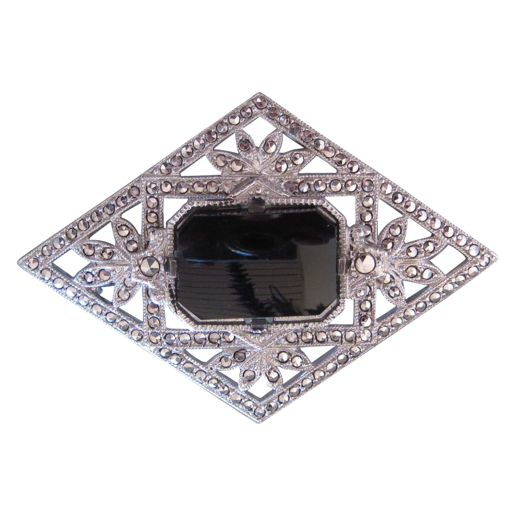 Lovely, Sterling Silver, Black Onyx and Marcasite Pin/Brooch