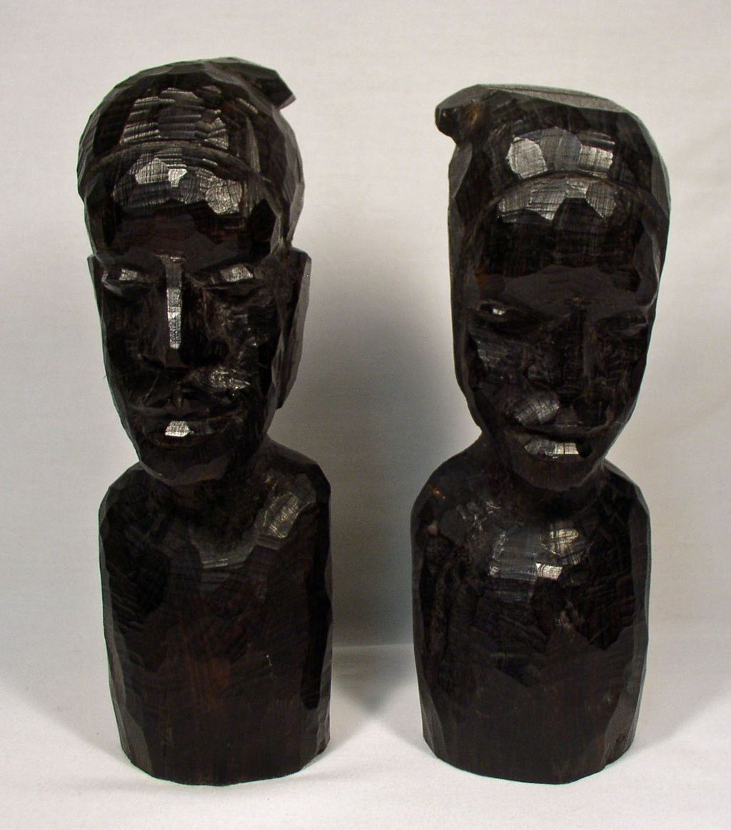 African Ebony Wood Art Busts, Faces, Sculptures