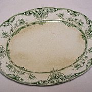 Antique Green & White Serving Platter - S.H & Sons, Circa 1900