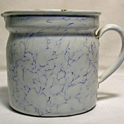 French Enamel Cream / Milk Warmer Jug with Strainer, 1920's