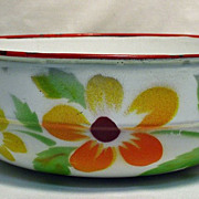 Vintage Enamelware Double Handled Bowl with Floral Design - Graniteware