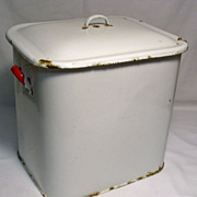 Enamel Bread Bin / Flour Bin / Grain Bin - White with Red Handles