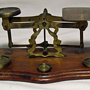 Brass and Walnut Postal Scales with Weights Made in England