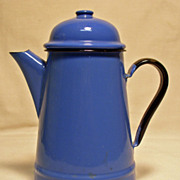 Blue Enamel Teapot / Coffee Pot - Made In Poland