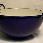 Cobalt Blue Enamel Bowl with Handles / Wok Style - Lion Stamp