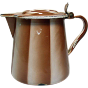 Brown & White Enamel Syrup Pitcher - France