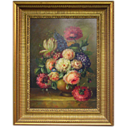 Vintage Still life Oil Painting on Board - Unsigned