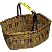 Vintage Yellow & Black Handled Wicker Market Vegetable Basket, England