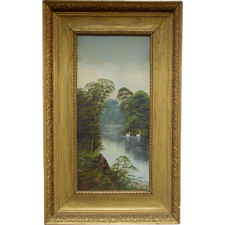 Antique Landscape Oil Painting On Board