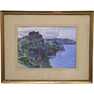 Vintage Landscape Watercolour Painting on Board - Castle Rock, Lynton - Signed, F.C. Milne 1923