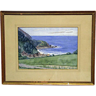 Vintage Landscape Watercolour Painting on Board - Lee Bay - Signed, F.C. Milne 1923