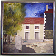Vintage Landscape Oil Painting on Board - French Village by Michael McLellan, 1987