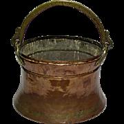Original Antique Copper & Brass Fireplace Hanging Pot, England