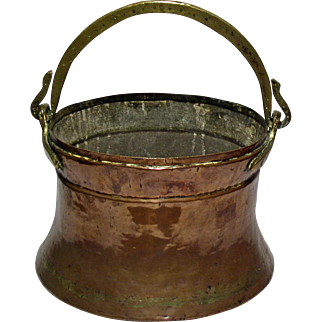 Original Antique Copper & Brass Fireplace Hanging Pot, England