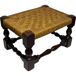 Antique Oak Foot Stool With Woven Seat